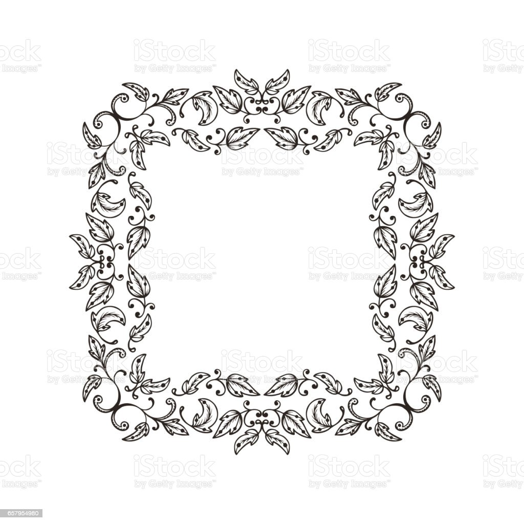 Vintage Elegant Floral Pattern Border For Design Floral Square Frame ...