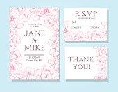 Vintage elegant wedding invitation card template set with anemone flower frame. Detailed botanical engraved vector illustration. Wedding invitation or save the date card, RSVP, thank you card.