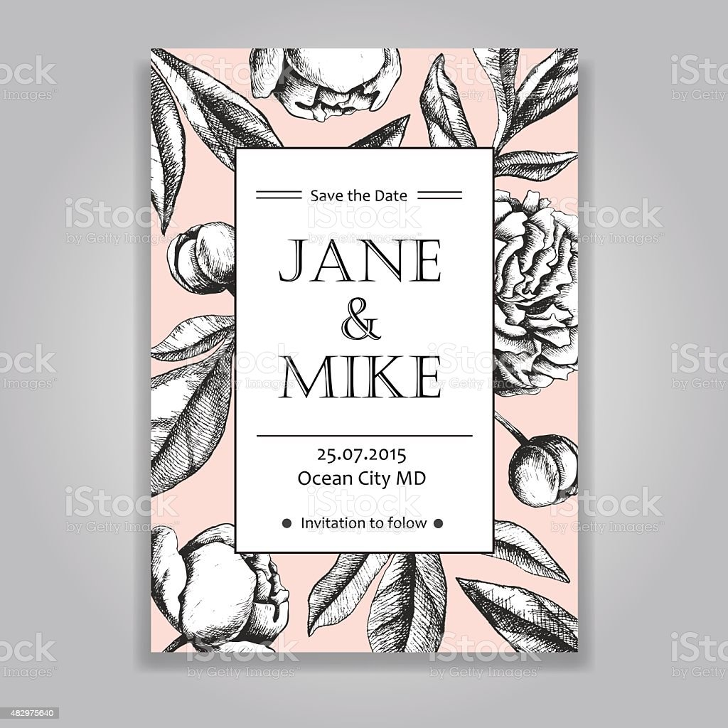 Vintage Elegant Wedding Invitation Card Template With Peony Flow ...
