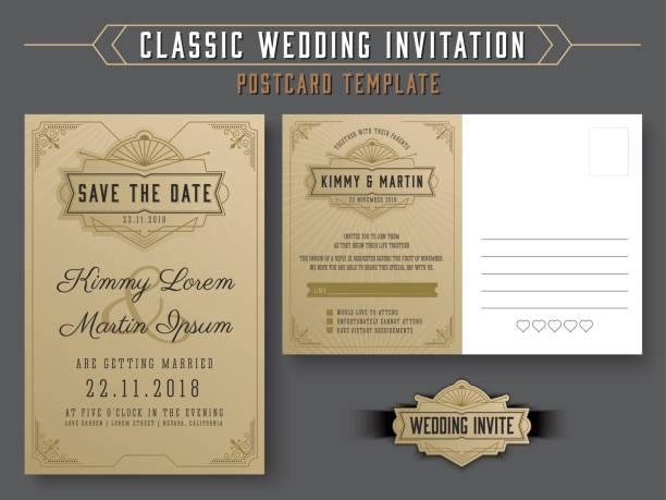 vintage elegant wedding invitation template - wedding invitation stock illustrations, clip art, cartoons, & icons