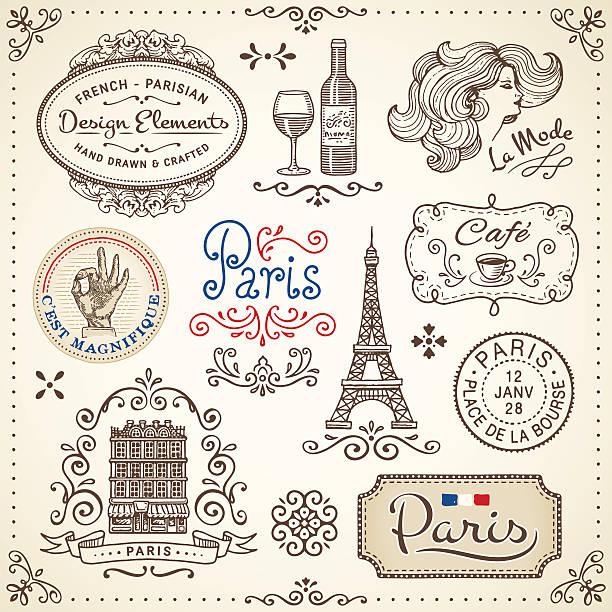 vintage elements - paris stock illustrations, clip art, cartoons, & icons