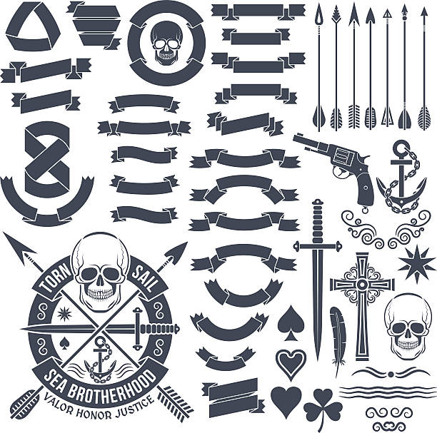 vintage elements - swords tattoos stock illustrations, clip art, cartoons, & icons