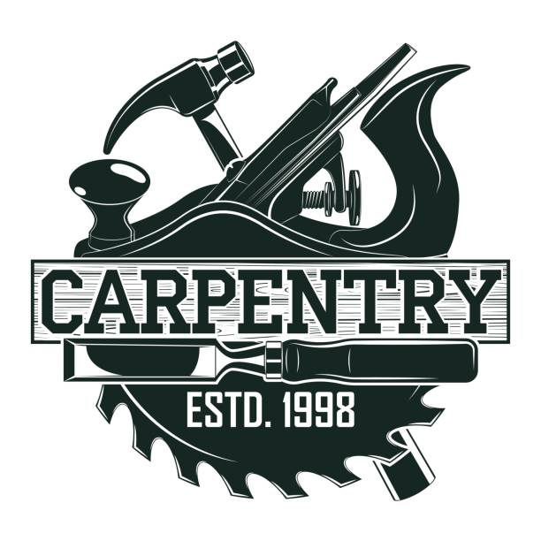 vintage emblem design - carpenter stock illustrations, clip art, cartoons, & icons