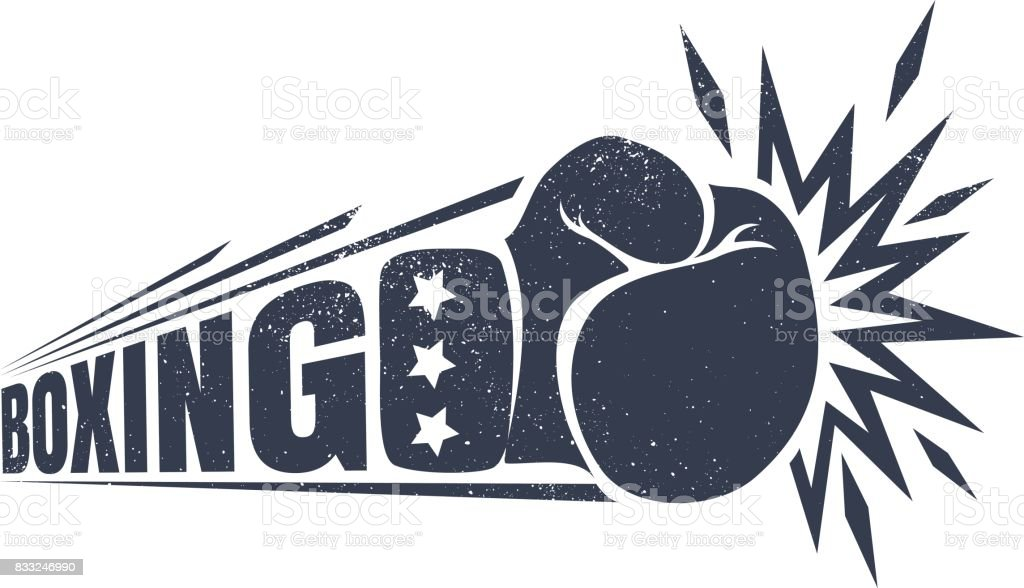 Vintage emblem for boxing. vector art illustration