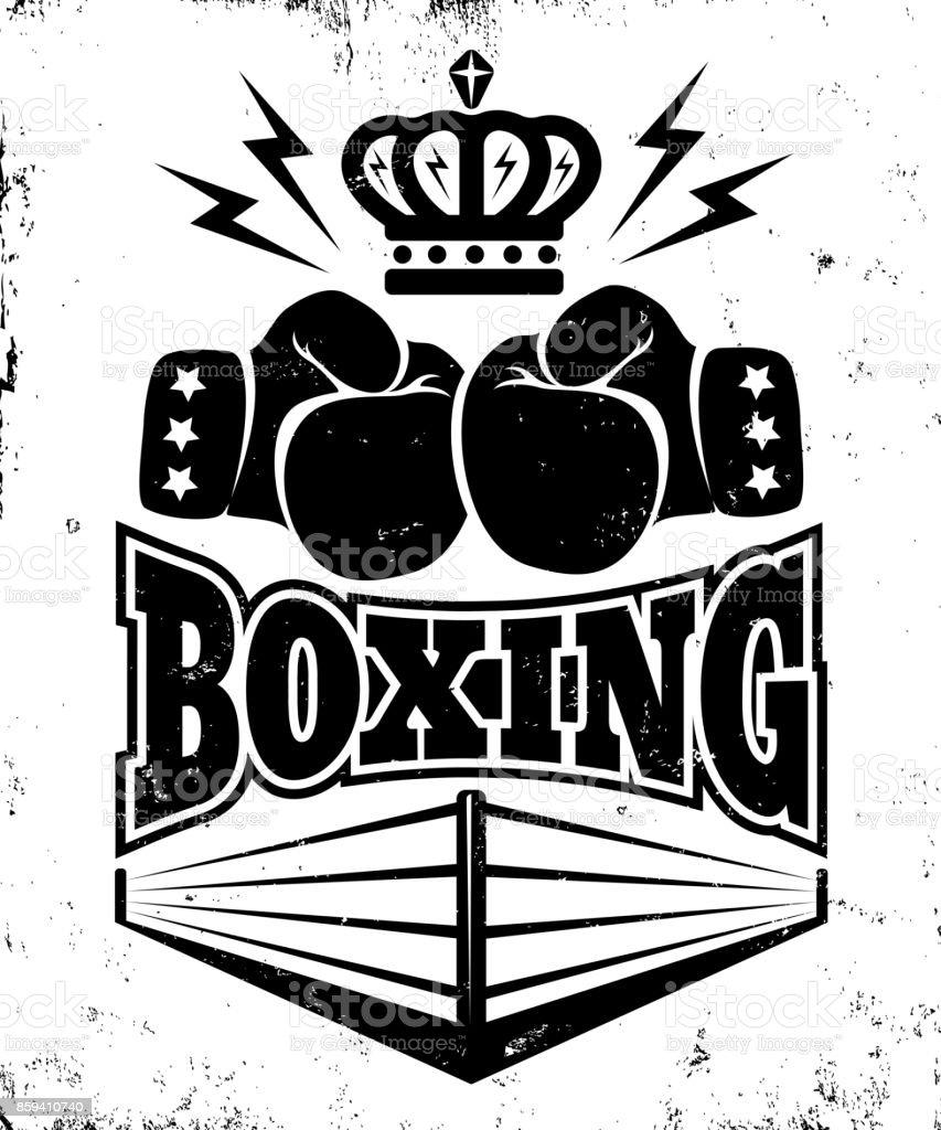 ボクシングのヴィンテージのエンブレム。 ベクターアートイラスト