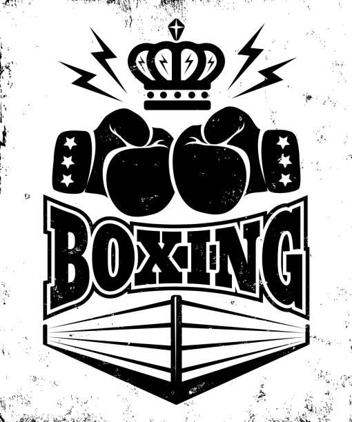 Vintage emblem for boxing. vector art illustration