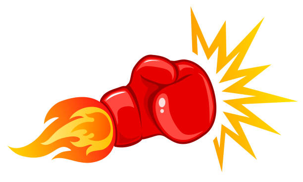 stockillustraties, clipart, cartoons en iconen met vintage embleem voor boksen. - knock out