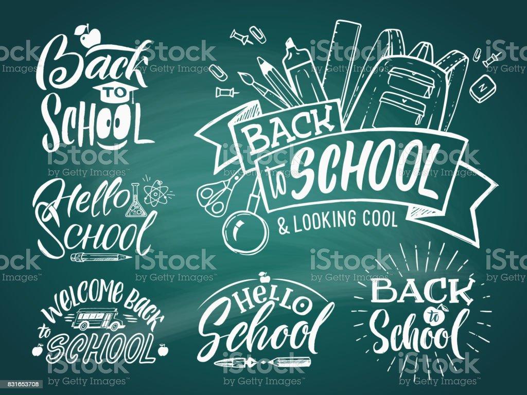 Vintage emblema definido para a escola e Universidade. Bem-vindo à escola. Palavras de escrita de mão vector - ilustração de arte em vetor