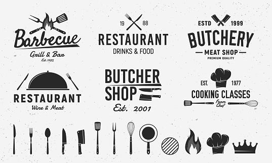 6 Vintage emblem templates and 14 design elements for restaurant business. Butchery, Barbecue, Restaurant emblems templates. Vector illustration