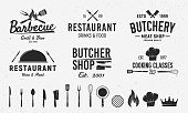 6 Vintage emblem templates and 14 design elements for restaurant business. Butchery, Barbecue, Restaurant emblems templates. Vector illustration