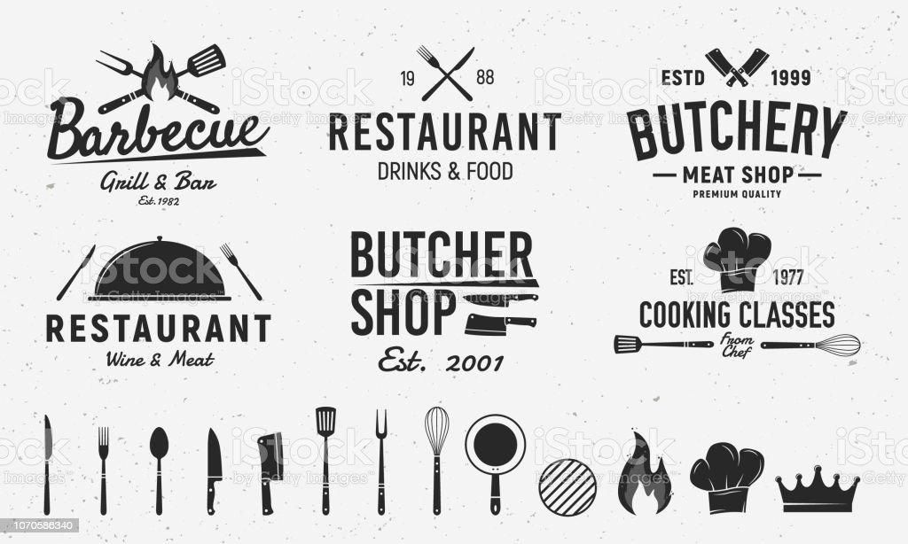 6 modèles d'emblème vintage et 14 éléments de conception pour l'entreprise de restauration. Modèles de boucherie, Barbecue, Restaurant emblèmes. Illustration vectorielle - Illustration vectorielle