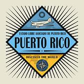 Vintage emblem, text Puerto Rico, Discover the World