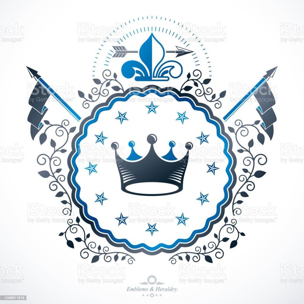 Emblema Vintage, vetor heraldic design. - ilustração de arte em vetor