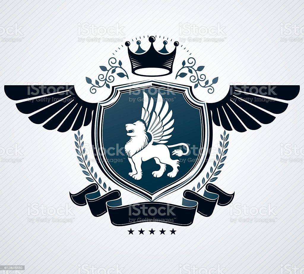 Vintage emblem, vector heraldic design. - ilustração de arte em vetor