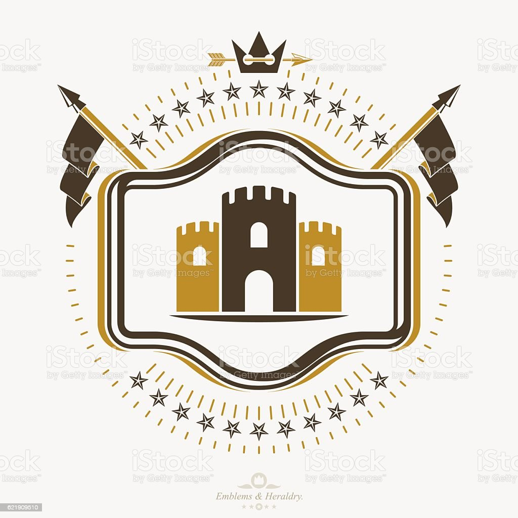 Vintage Emblem With A Tower Illustration Vector Heraldic
