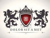 Vintage emblem with lions