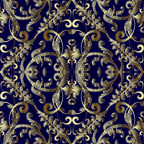 Vintage embroidered gold Baroque vector seamless pattern. Tapestry floral textured background. Antique golden hand drawn embroidery Damask  ornaments. Grunge golden flowers, leaves, swirls, scrolls. Vintage embroidered gold Baroque vector seamless pattern. Tapestry floral textured background. Antique golden hand drawn embroidery Damask  ornaments. Grunge golden flowers, leaves, swirls, scrolls. tapestry stock illustrations