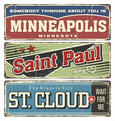 Vintage enamel tin road sign. Minneapolis. Saint Paul. St. Cloud. US. Minnesota city.