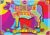 Vintage English Cut of Beef in Happy Rainbow