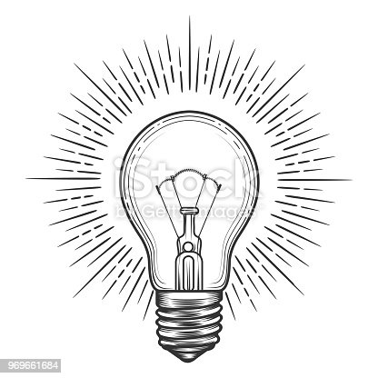 Engraving light bulb. Vintage engraved light for idea or illumination concepts vector illustration