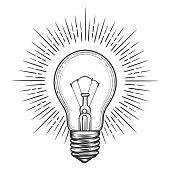 Vintage engraved light bulb