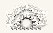 Sunrise engraving illustration. Vintage engraved sky vector with waves texture and rising sun etching on white background