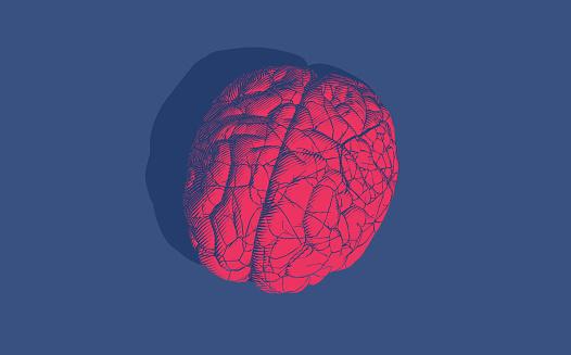 Vintage engraving brain cracking illustration isolated on blue BG