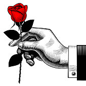 Hand with a red rose. Retro style valentine greeting card design. Vintage engraving stylized drawing. Vector illustration
