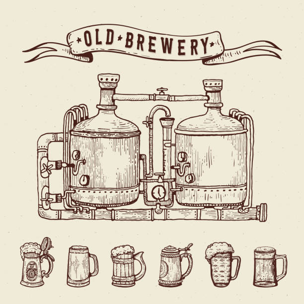 Vintage engraving style beer set. Retro brewery engraving. Copper tanks and barrels, beer mugs and ribbon. Craft beer Local brewery. Beer pint hand drawn ink sketch Vintage engraving style beer set. Retro brewery engraving. Copper tanks and barrels, beer mugs and ribbon. Craft beer Local brewery. Beer pint hand drawn ink sketch. Vector illustration. drawing of a glass liquor flask stock illustrations