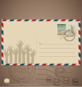 Vintage envelope designs with postage stamps.