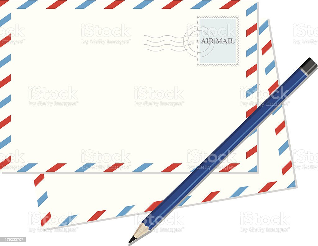 Vintage Envelope with blue pencil. royalty-free stock vector art