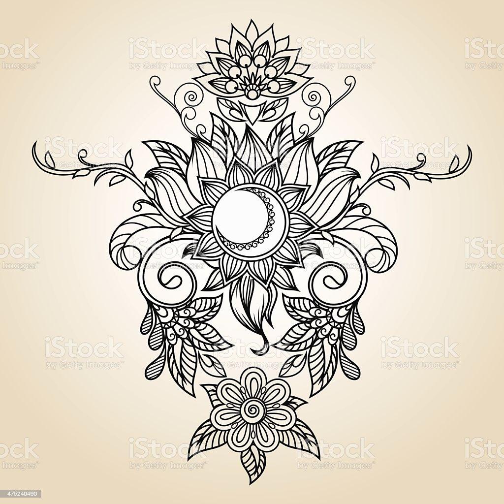 Vintage Etnicznych Pattern Tatuaż Z Henny Słońce Kwiat