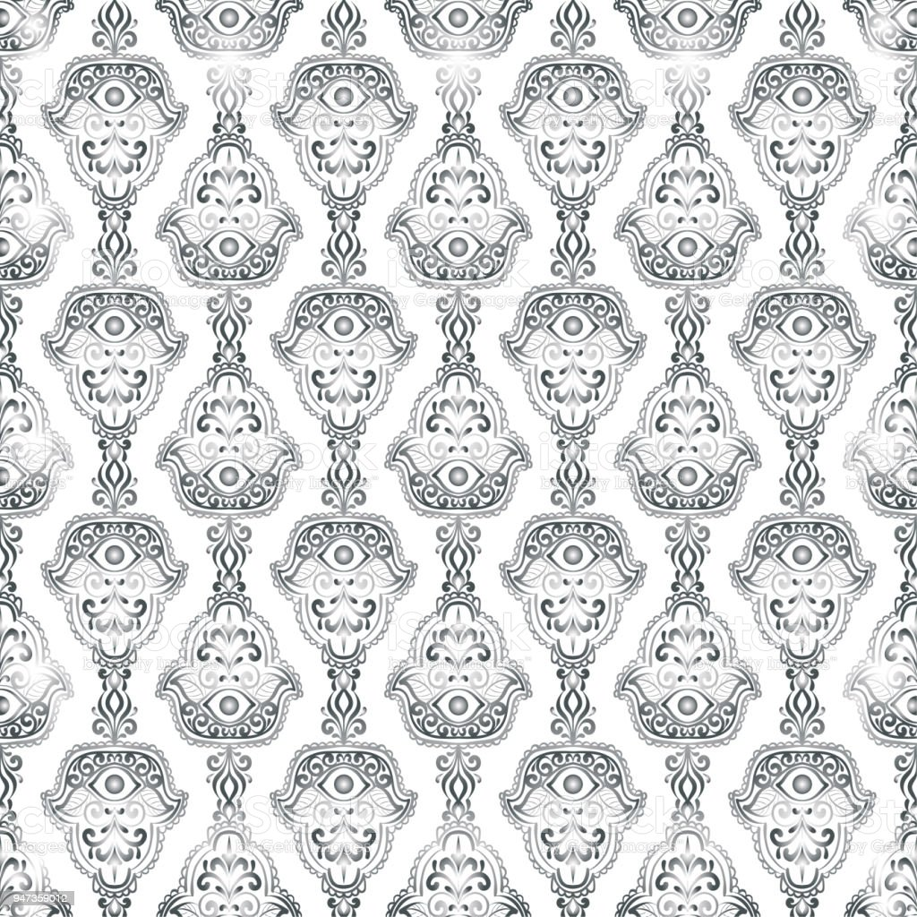Vintage Ethnic Pattern With Hamsa Hand Drawn Vector Illustration Royalty Free