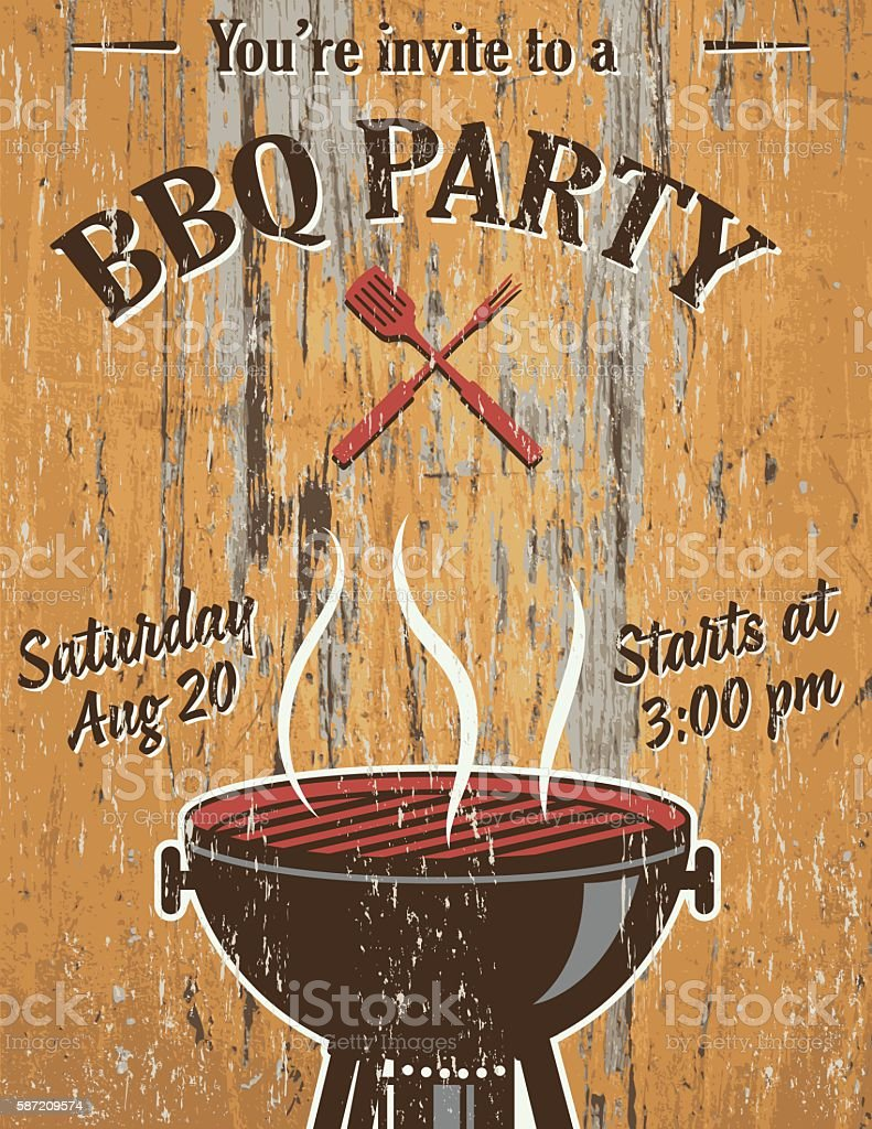 vintage faded bbq party template sign wood background