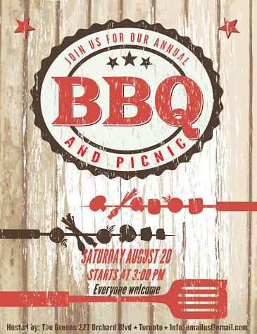 Vintage Faded BBQ Party Template Sign - Wood Background