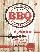 Vintage Faded BBQ Party Invitation Template Sign - Wood Background.