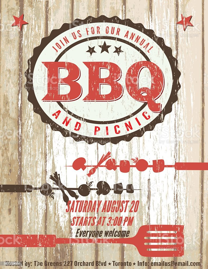 Vintage Faded BBQ Party Template Sign - Wood Background - ilustración de arte vectorial