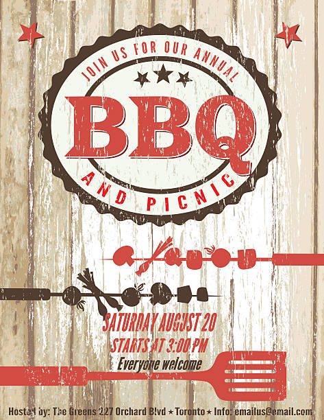 vintage faded bbq party template sign - wood background - grill zubereitung stock-grafiken, -clipart, -cartoons und -symbole