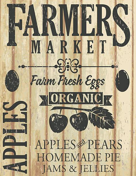 Vintage Faded Farm Sign On Wood Background Vintage Faded Farm Sign On Wood Background. agricultural fair stock illustrations