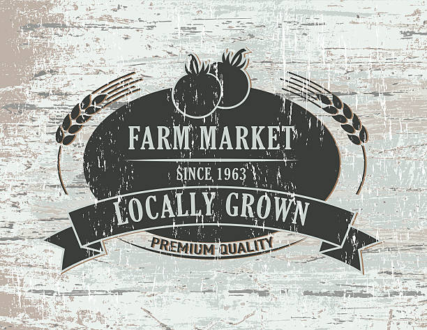 Vintage Faded Farm Sign On Wood Background vector art illustration