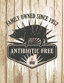Vintage Faded Farm Sign On Wood Background.