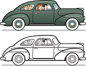 Great illustration of a vintage family in a car. Perfect for a transportation or family trip illustration. EPS and JPEG files included. Be sure to view my other illustrations, thanks!