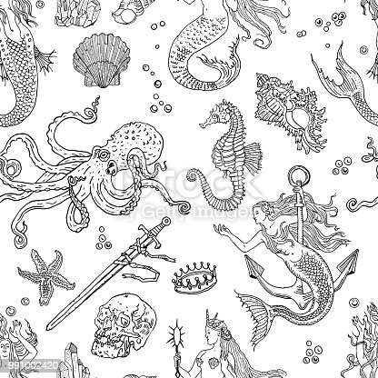 Vintage fantasy nautical seamless pattern: mermaid, underwater treasures, octopus, shell, starfish, anchor, drowned sword, crown, skull, crystal, sea horse. Retro tattoo style hand drawn illustration.