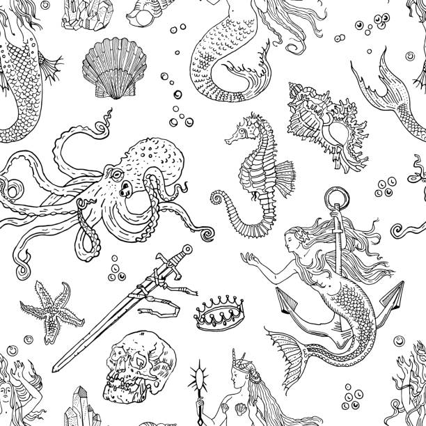 Vintage fantasy nautical seamless pattern: mermaid, underwater treasures, octopus, shell, starfish, anchor, drowned sword, crown, skull, crystal, sea horse. Retro tattoo style hand drawn illustration. vector art illustration