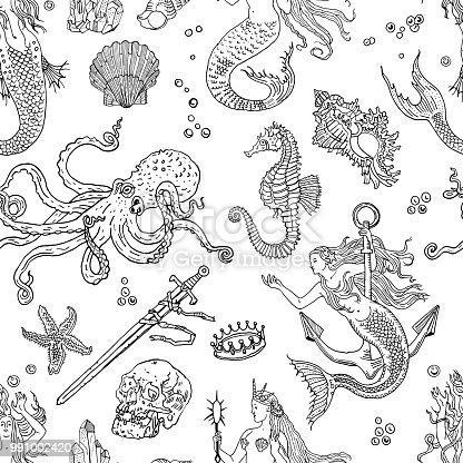 Ilustración de Patrón Transparente Náutica Fantasía Vintage Sirena ...