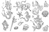 Vintage fantasy nautical set: long haired mermaid, underwater treasures, octopus, shell, starfish, anchor, drowned sword, crown, skull, crystal, sea horse. Hand drawn tattoo style vector illustration.
