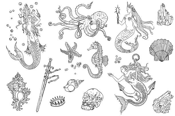 Vintage fantasy nautical set: long haired mermaid, underwater treasures, octopus, shell, starfish, anchor, drowned sword, crown, skull, crystal, sea horse. Hand drawn tattoo style vector illustration. vector art illustration