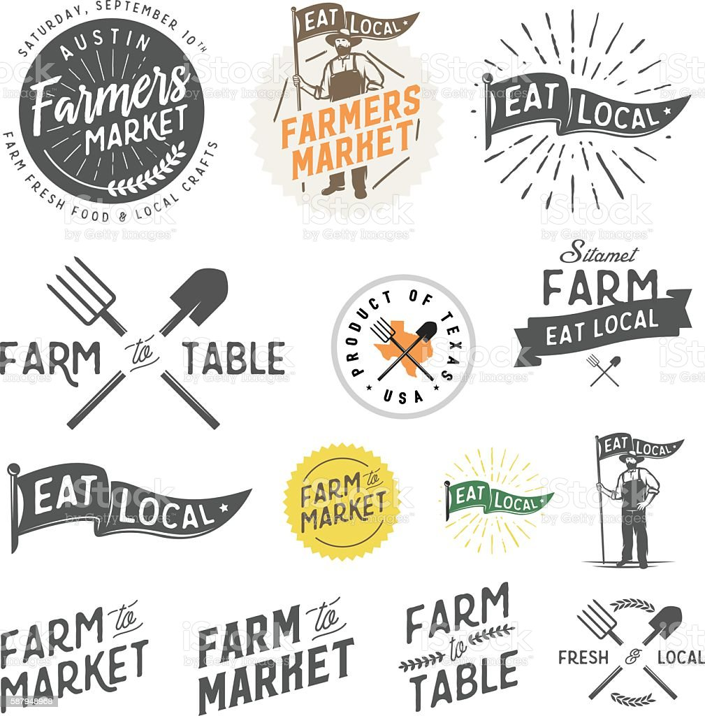 Vintage farm and farmers market labels, badges, emblems and design elements vector art illustration