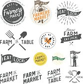 Vintage farm and farmers market labels, badges, emblems and design elements