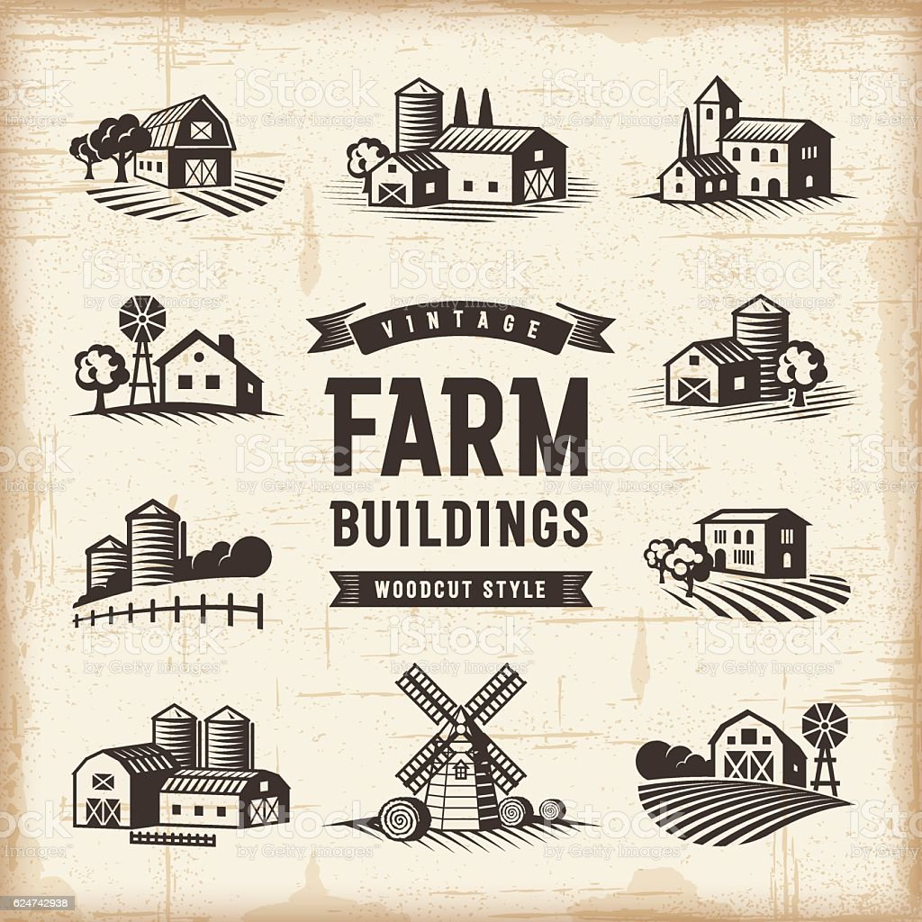 Vintage Farm Buildings Set vector art illustration
